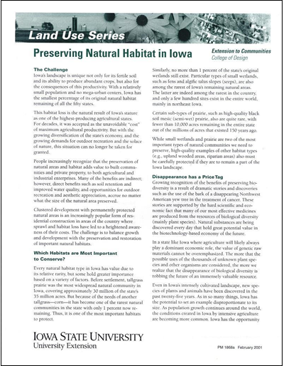 Preserving Natural Habitat in Iowa -- Land Use Series