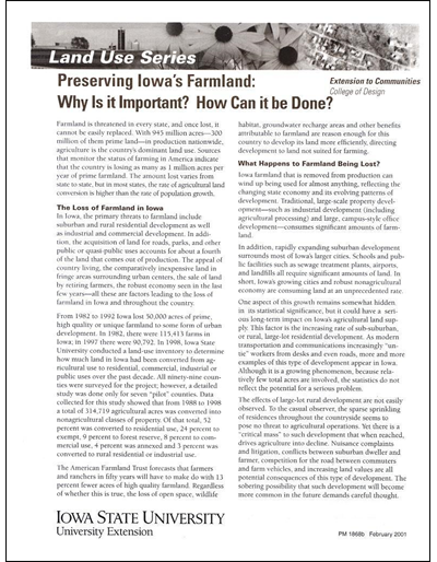 Preserving Iowa's Farmland: Why is it Important? How Can it be Done? -- Land Use Series