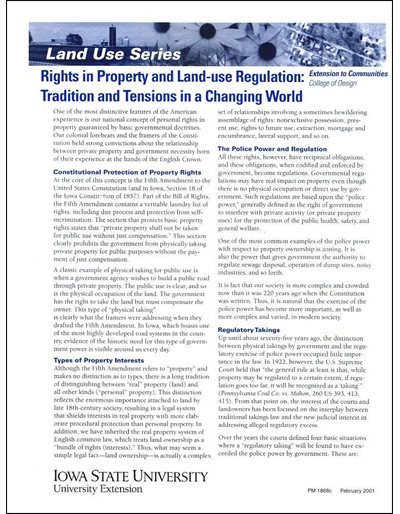 Rights in Property and Land Use Regulation: Tradition and Tension in a Changing World -- Land Use Series