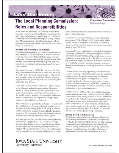 The Local Planning Commission: Roles and Responsibilities -- Land Use Series