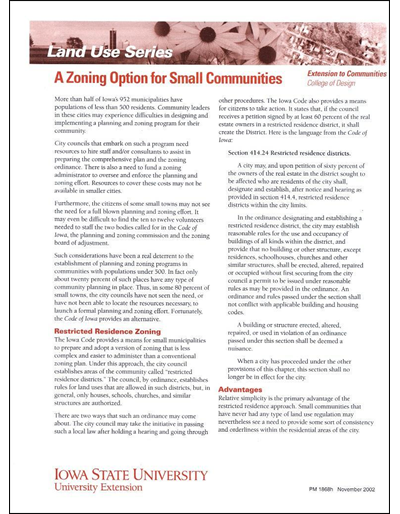 A Zoning Option for Small Communities -- Land Use Series
