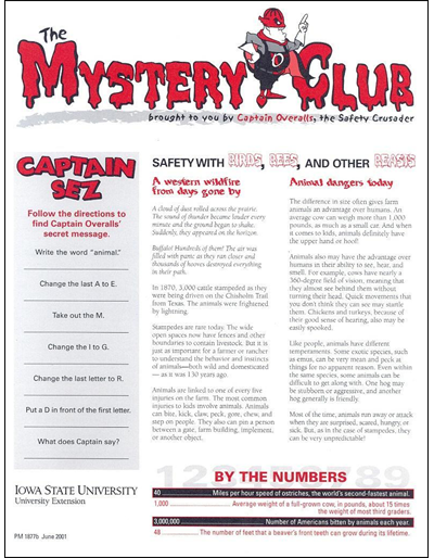 Safety with Birds, Bees, and Other Beasts -- The Mystery Club