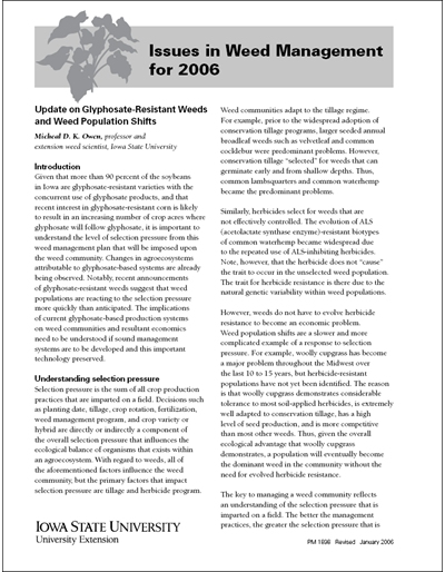 Issues in Weed Management for 2006