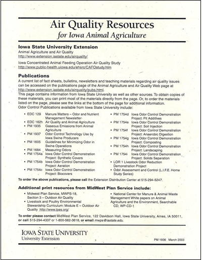 Air Quality Resources for Iowa Animal Agriculture