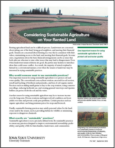 Considering Sustainable Agriculture on Your Rented Land