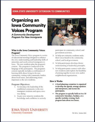 Organizing an Iowa Community Voices Program -- A Community Development Program For New Immigrants