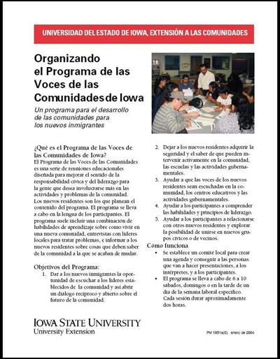 Organizando el Programa de las Voces de las Comunidades de Iowa