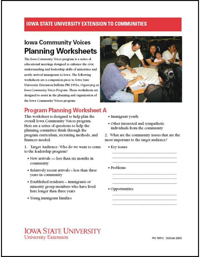 Iowa Community Voices Planning Worksheets