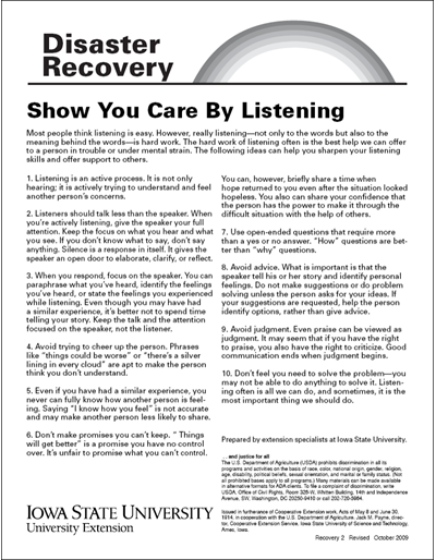 Show You Care By Listening - Disaster Recovery Series
