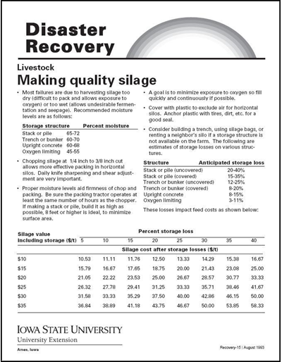 Livestock: Making Quality Silage - Disaster Recovery Series