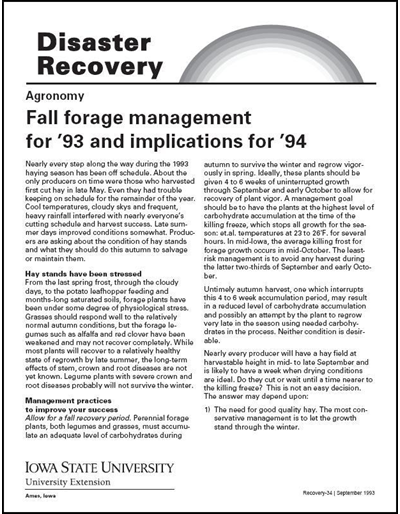 Agronomy: Fall Forage Management for '93 and Implications for '94 - Disaster Recovery Series
