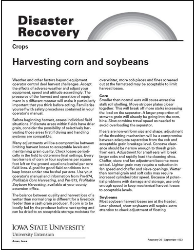Crops: Harvesting Corn and Soybeans - Disaster Recovery Series