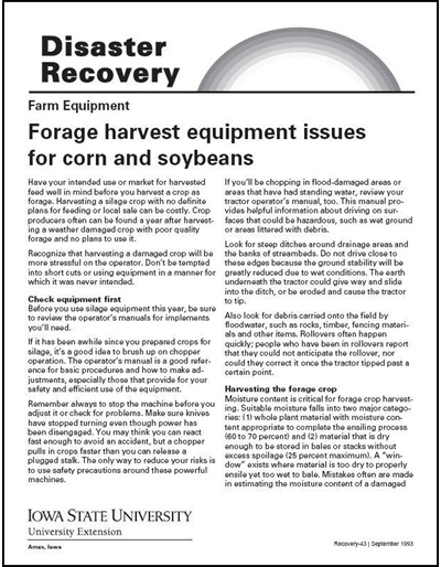 Farm Equipment: Forage Harvest Equipment Issues for Corn and Soybeans -- Disaster Recovery Series