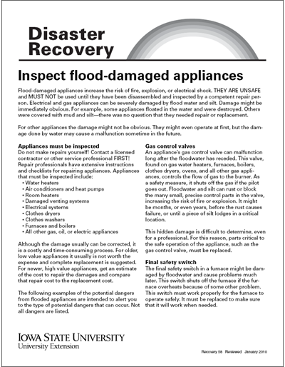 Inspect Flood-Damaged Appliances - Disaster Recovery Series