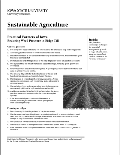 Reducing Weed Pressure in Ridge-Till - Sustainable Agriculture