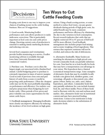 Ten Ways to Cut Cattle Feeding Costs - Decisions