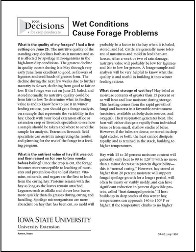 Wet Conditions Cause Forage Problems - Decisions