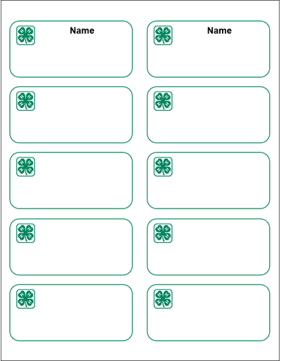 4-H Name Tag sticker template