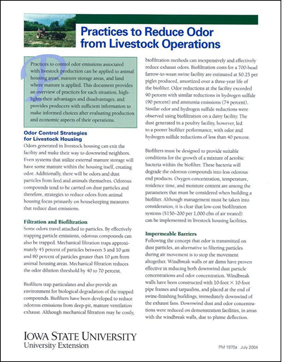 Practices to Reduce Odor from Livestock Operations