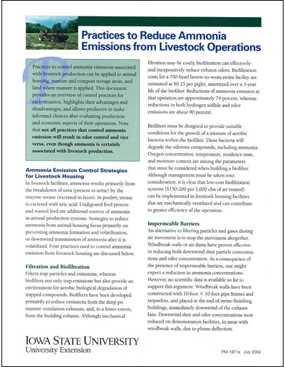Practices to Reduce Ammonia Emissions from Livestock Operations