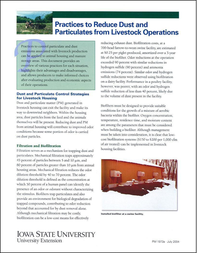 Practices to Reduce Dust and Particulates from Livestock Operations