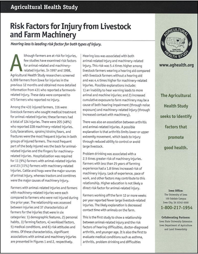 Agricultural Health Study -- Risk Factors for Injury from Livestock and Farm Machinery