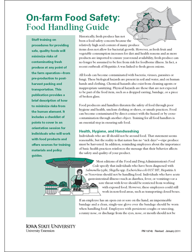 On-farm Food Safety: Food Handling Guide