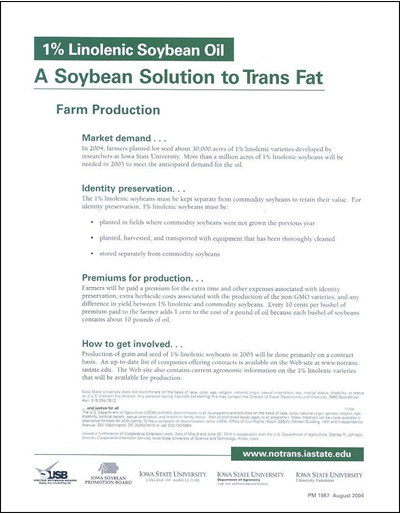 1% Linolenic Soybean Oil, A Soybean Solution to Trans Fat