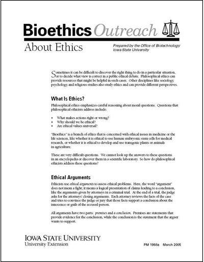 About Ethics - Bioethics Outreach Series