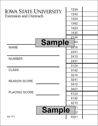 Livestock Judging Scorecard (Unit=Pkg of 25)