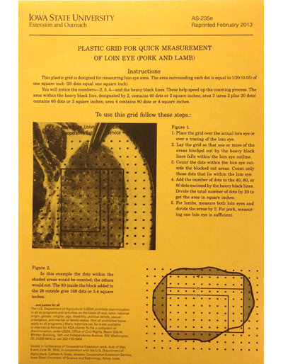 Plastic Grid for Quick Measurement of Loin Eye (Pork and Lamb) with envelope