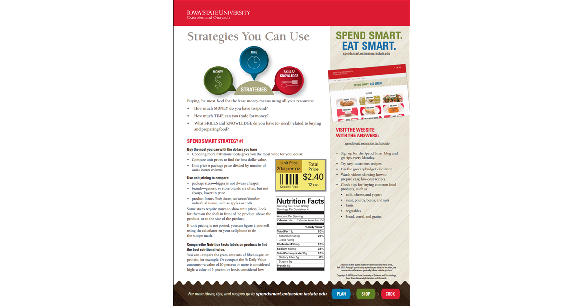 Spend Smart  Eat Smart  -- Strategies You Can Use