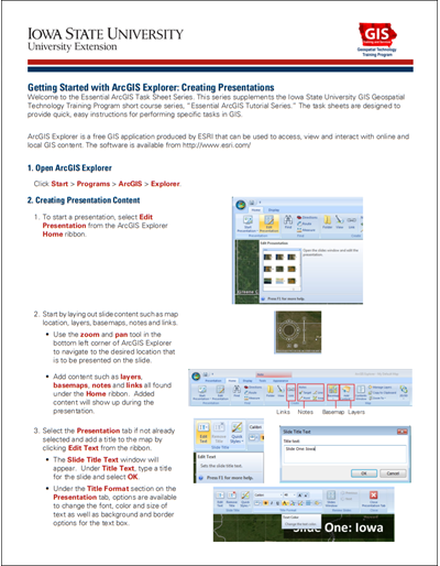 Getting Started with ArcGIS Explorer: Creating Presentations