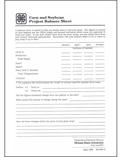 Corn And Soybean Project Balance Sheet Youth Optional Worksheet