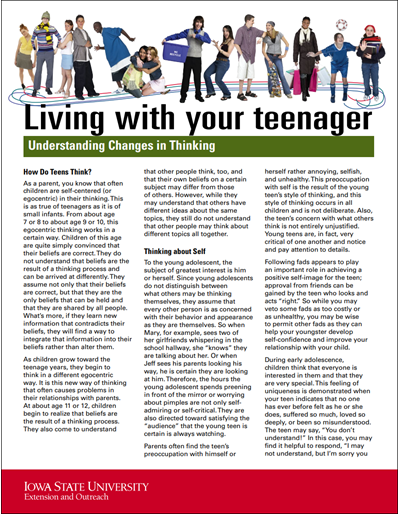 Understanding Changes in Thinking - Living With Your Teenager